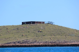 The building the nuclear tests were observed from - Hermite Island ( seen heading to Stephenson's)