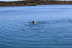 Adventurous swim from the rocky shore!  (needed a tow back)