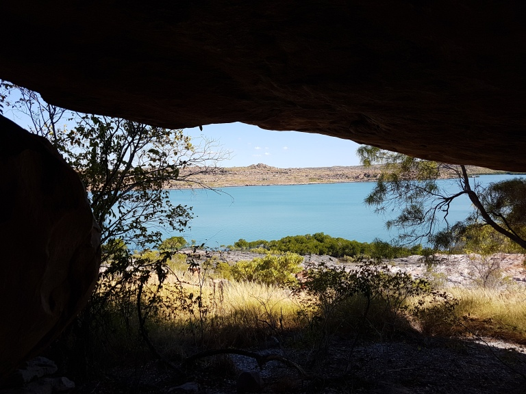 View out from under one rock ledge/cave